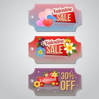 Valentine verkoop coupon sjabloon instellen met bloem