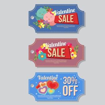 Valentine verkoop coupon sjabloon instellen pinguïn vogel liefde vorm
