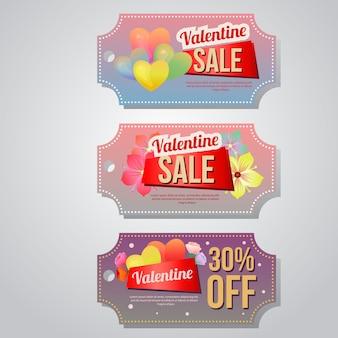 Valentine verkoop coupon sjabloon instellen zachte bloem