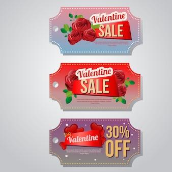 Valentine verkoop coupon sjabloon set