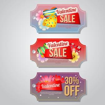 Valentine verkoop coupon sjabloon snoep jelly set Premium Vector