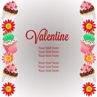 Valentine verticale rand sjabloon kleurrijke cupcakes
