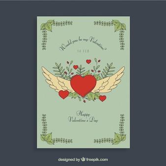 Valentine-vliegerontwerp met hart en vleugels
