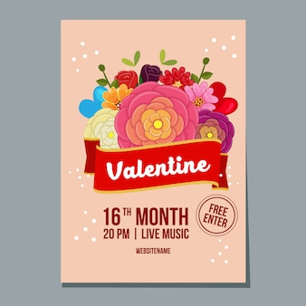 Valentine week festival poster met buttercup bloem