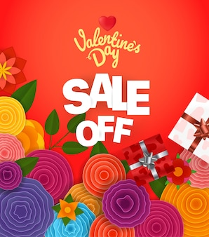Valentinea day sale off banner