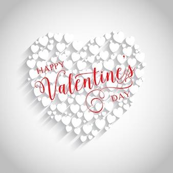Valentines achtergrond gemaakt met witte hartjes