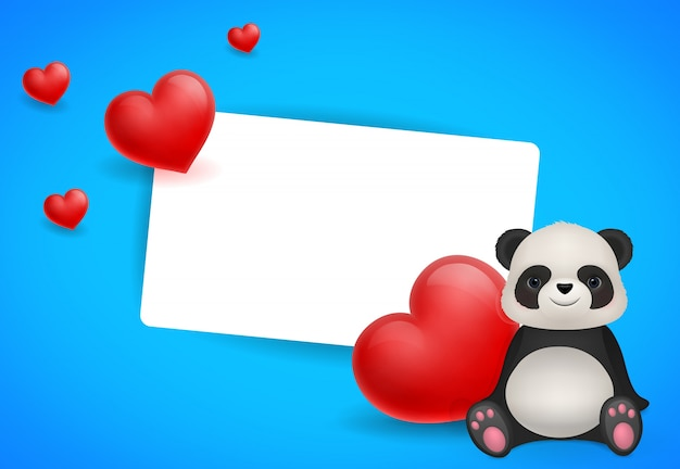 Valentines ansichtkaart met panda