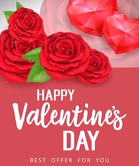 Valentines beste aanbod letters met rozen