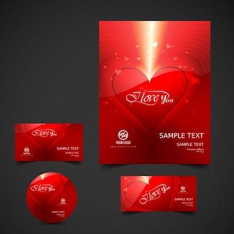 Valentines briefpapier met glanzende hart