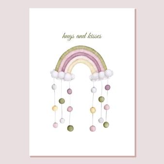 Valentines card knuffel kleurrijke regenboog