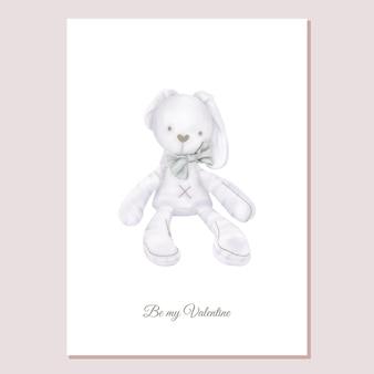 Valentines card knuffel konijn met strik