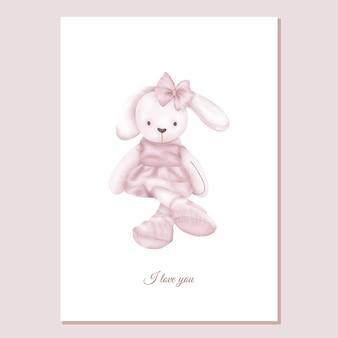Valentines card knuffel roze konijn meisje