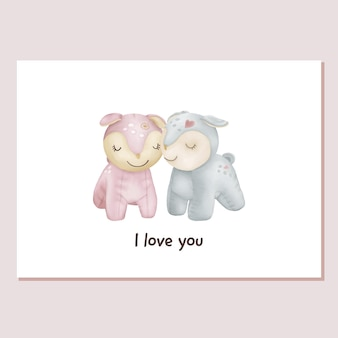 Valentines card knuffels herten