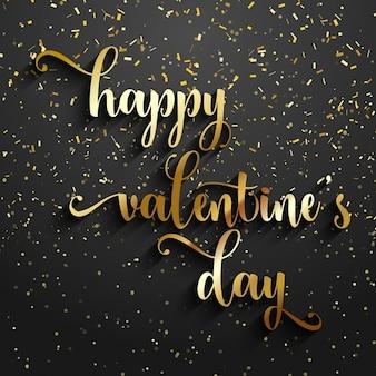 Valentines day achtergrond met gouden confetti