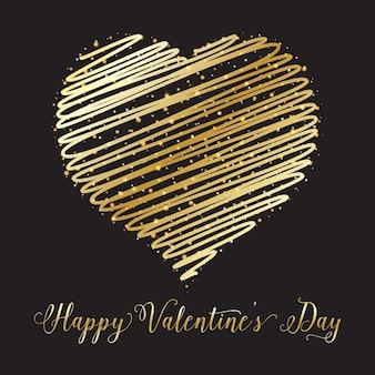 Valentines day achtergrond met gouden hart gekrabbel