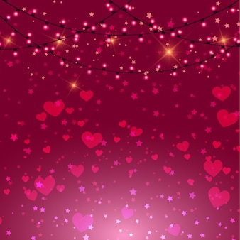 Valentines day achtergrond met roze harten en lichten