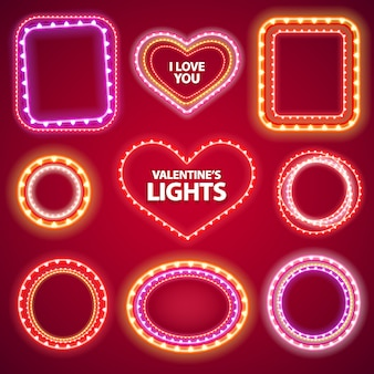 Valentines neonlichten frames met een kopie ruimte set2
