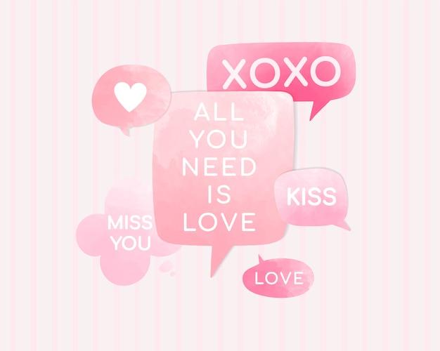 Valentines tekstballonnen