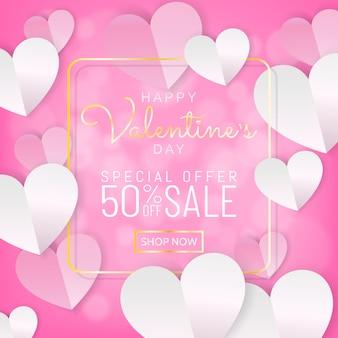 Valentines verkoop achtergrond banner kalligrafie en gouden frame, papier knippen stijl