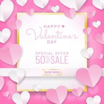 Valentines verkoop achtergrond kalligrafie op wit gouden frame, papier knippen stijl
