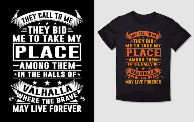Valhalla typografie t-shirtontwerp Premium Vector