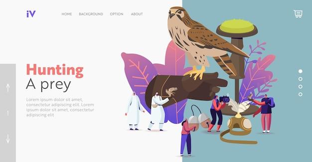 Valkerij bestemmingspagina sjabloon. kleine personages met professionele uitrusting voor falcon-training. arabische traditionele sport, vogels jagen, falconer festival. cartoon mensen vectorillustratie