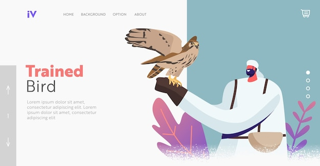 Valkerij bestemmingspagina sjabloon. mannelijke personages in arabische jurk met wild falcon bij de hand. valkentraining, arabische traditionele sport, vogels jagen, valkeniersshow. cartoon mensen vectorillustratie