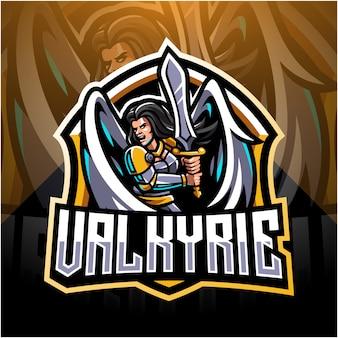 Valkyrie esport mascotte logo ontwerp