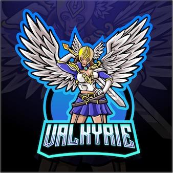 Valkyrie mascotte esport logo ontwerp.