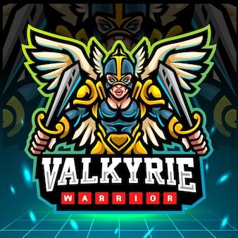 Valkyrie mascotte esport logo ontwerp
