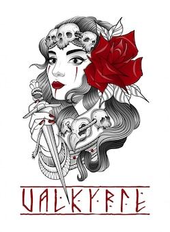 Valkyrie-vrouw met een dolk in haar hand