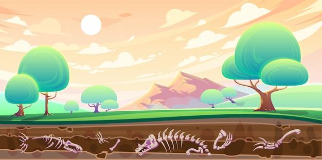 Vallei en dwarsdoorsnede van bodem met fossielen