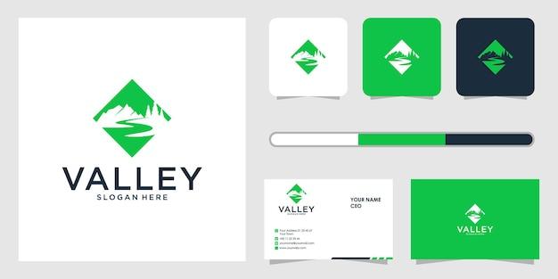 Vallei logo ontwerp en sjabloon voor visitekaartjes