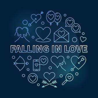 Vallen in liefde vector ronde blauwe omtrek illustratie