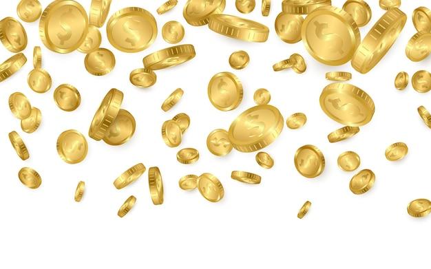 Vallen van de top veel gouden munten op witte achtergrond.