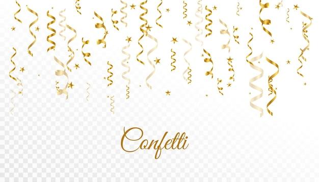 Vallend gouden confetti-achtergrondontwerp