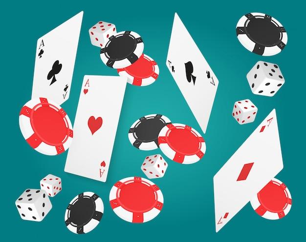 Vallende azen kaarten met rode en zwarte chips en verschillende dobbelstenen op blauwe achtergrond.