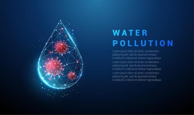Vallende blauwe druppel water met rood virus erin.