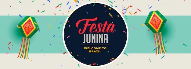 Vallende confetti festa junina banner ontwerp