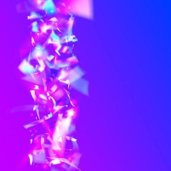 Vallende confetti. transparante textuur. blauwe laserglans. glitterkunst. carnaval klatergoud. glanzende decoratie. retro-element. luxe folie. roze vallende confetti