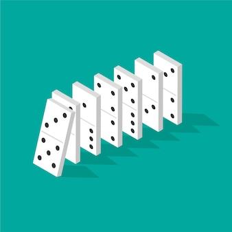 Vallende dominostenen in isometrische projectie geïsoleerd op groen