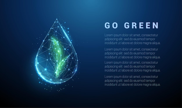 Vallende druppel water met groene bladeren binnen. laag poly-stijl ontwerp.