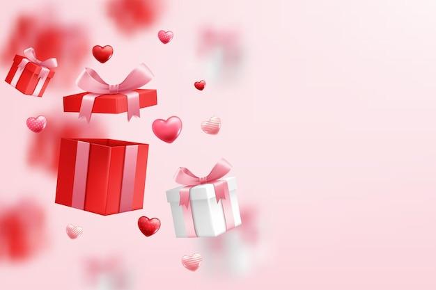 Vallende geschenkdoos, valentijnsdag vieren