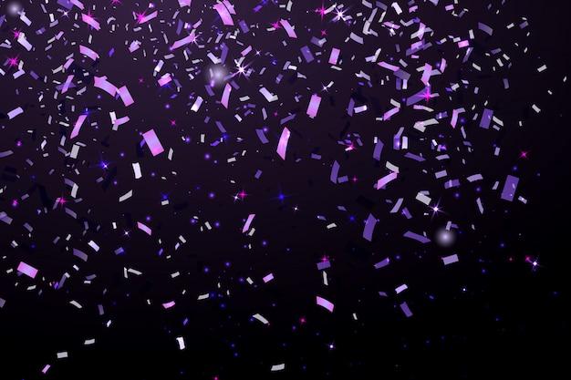 Vallende glanzende glitter paarse confetti geïsoleerd op zwarte achtergrond. kerstmis of gelukkig nieuwjaar confetti. Premium Vector