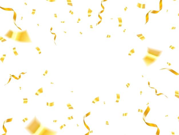 Vallende glanzende gouden confetti geïsoleerd op een witte achtergrond. helder feestelijk klatergoud van gouden kleur.