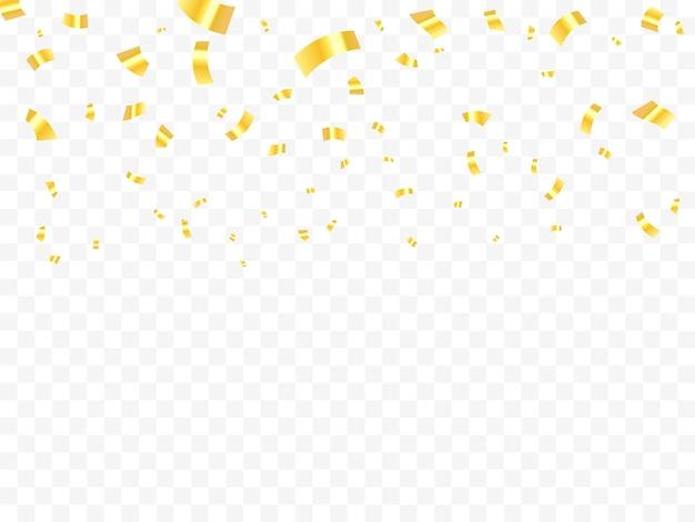 Vallende glanzende gouden confetti geïsoleerd op transparante achtergrond. helder feestelijk klatergoud van gouden kleur.