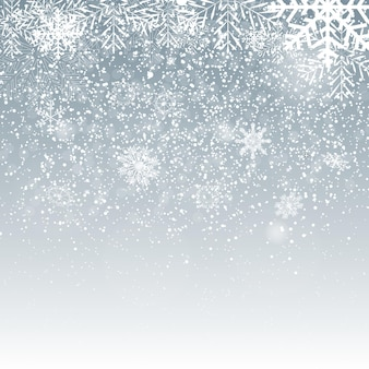 Vallende glanzende sneeuwvlokken en sneeuw op blauwe achtergrond. kerstmis, winter en nieuwjaar achtergrond. realistische vectorillustratie voor uw ontwerp eps10