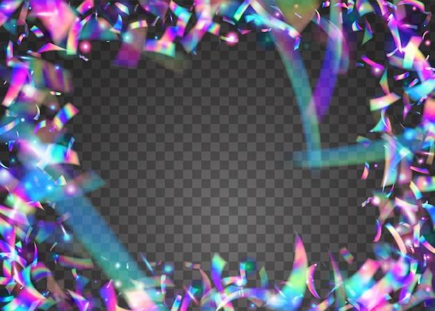 Vallende glitters. disco flare. caleidoscoop klatergoud. luxe folie. heldere kunst. roze feesteffect. iriserende achtergrond. retro carnaval-sjabloon. blauwe vallende glitter