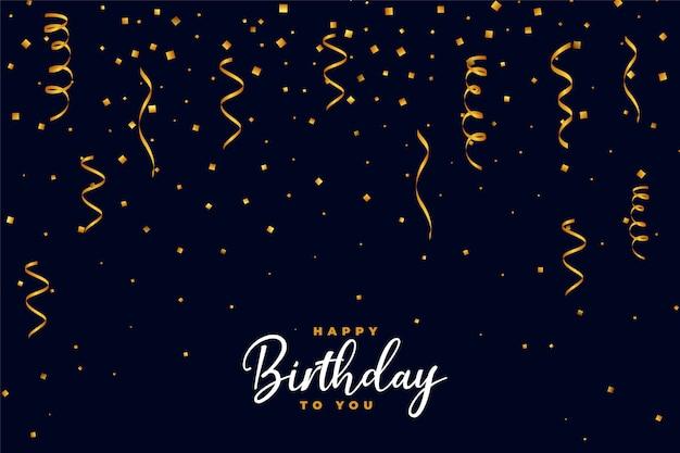 Vallende gouden confetti happy birthday achtergrondontwerp