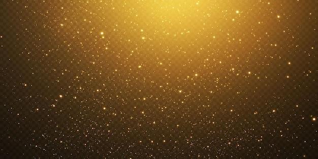 Vallende gouden lichten. goudstof en schittering. gouden deeltjes en glitter.